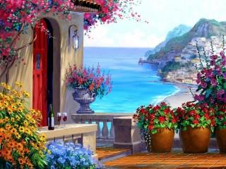Собирать пазл Дом с видом на море онлайн