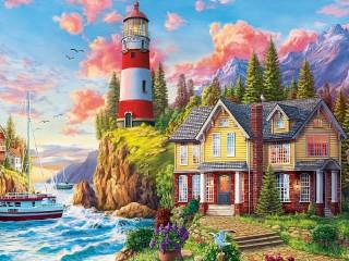 Собирать пазл Дом у маяка онлайн