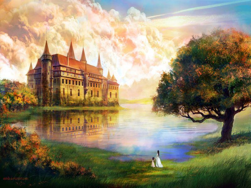 Пазл Собирать пазлы онлайн - Замок  у озера