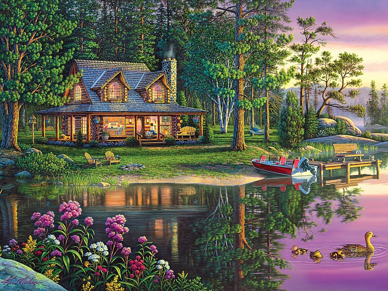 Пазл Собирать пазлы онлайн - Дом у озера