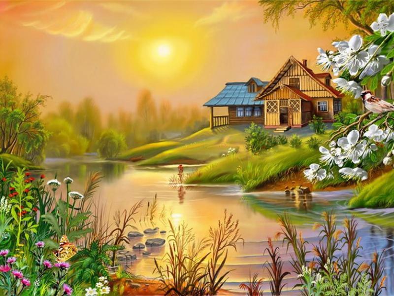 Пазл Собирать пазлы онлайн - Дом у реки