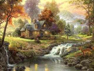 Собирать пазл Дом у реки онлайн
