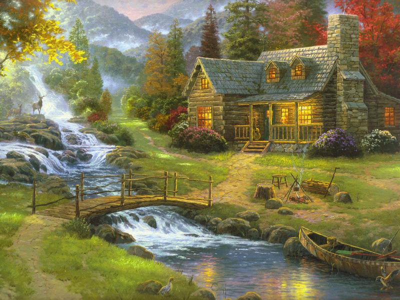 Пазл Собирать пазлы онлайн - Дом у ручья