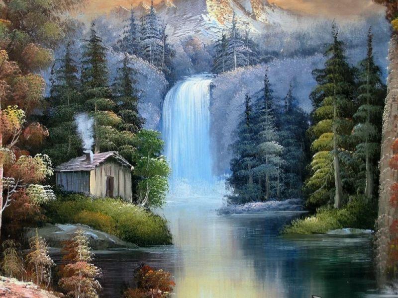 Пазл Собирать пазлы онлайн - Дом у водопада