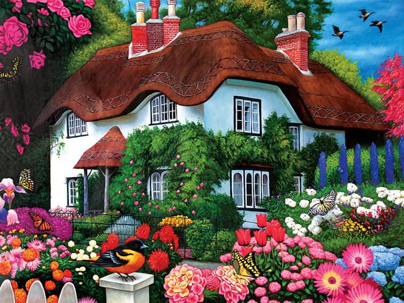 Пазл Собирать пазлы онлайн - Дом в саду