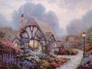 Собирать пазл Дом в саду онлайн