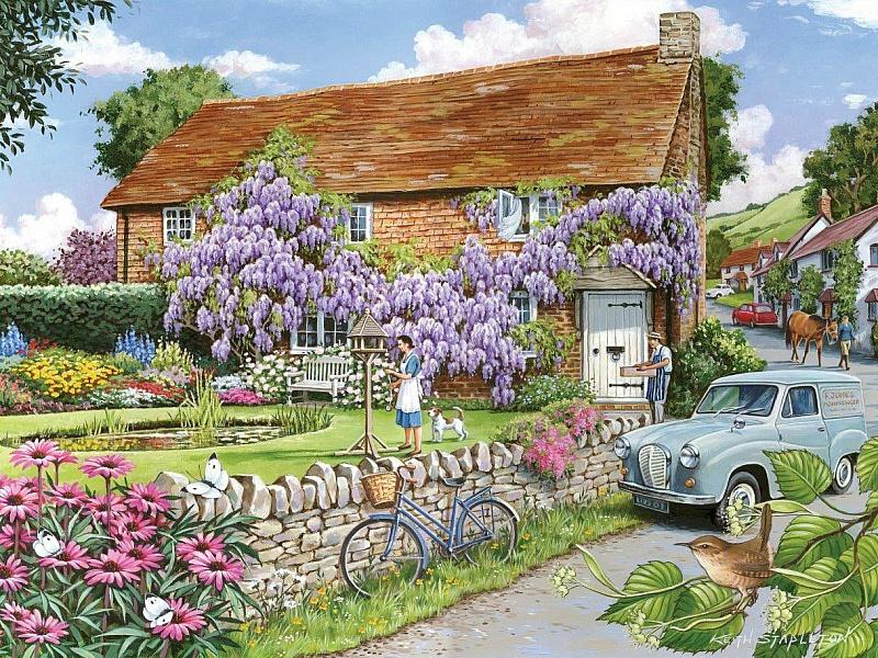 Пазл Собирать пазлы онлайн - Дом в цветах
