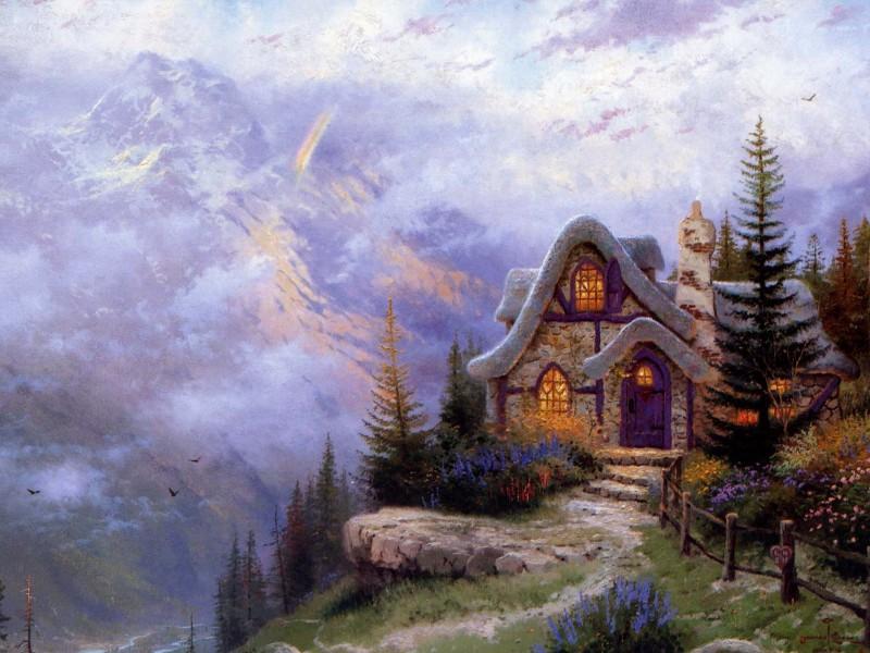 Пазл Собирать пазлы онлайн - Домик на горе