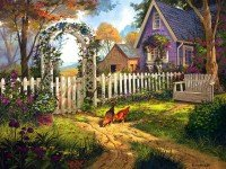 Собирать пазл Домик цветущий сад онлайн