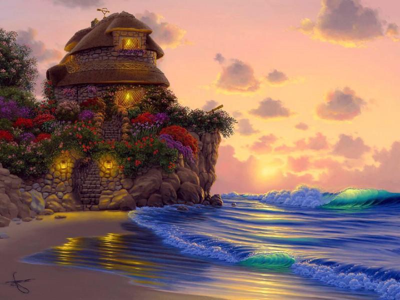Пазл Собирать пазлы онлайн - Домик у моря