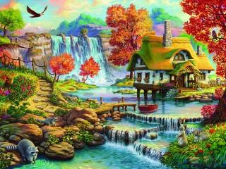Собирать пазл Домик у водопада онлайн