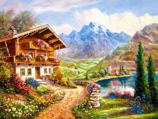 Собирать пазл Домик в долине онлайн