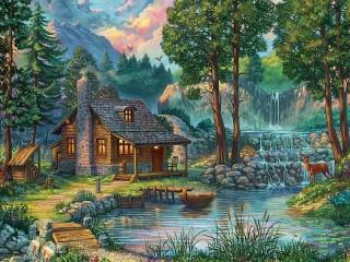 Собирать пазл Домик в лесу онлайн