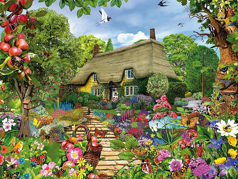 Пазл Собирать пазлы онлайн - Домик в саду
