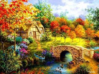Собирать пазл Домик в саду онлайн