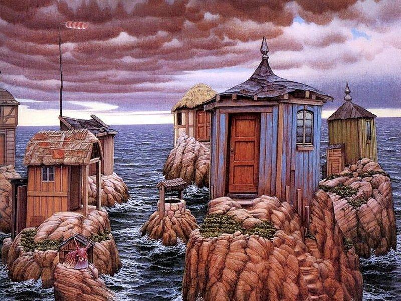 Пазл Собирать пазлы онлайн - Домики у моря