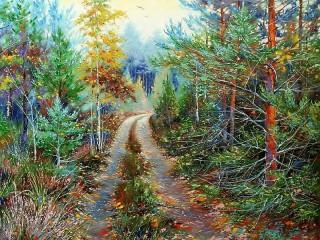 Собирать пазл Дорога в лес онлайн