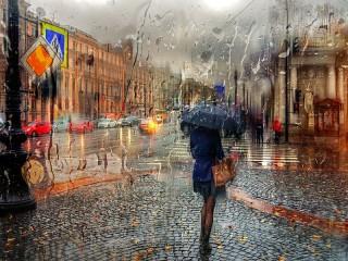 Собирать пазл Дождь на Невском онлайн