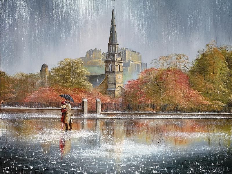 Пазл Собирать пазлы онлайн - Дождь в Эдинбурге