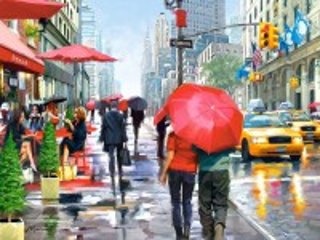Собирать пазл Дождь в Нью-Йорке онлайн