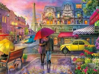 Собирать пазл Дождь в Париже онлайн