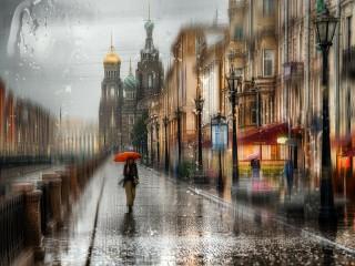 Собирать пазл Дождь в Питере онлайн