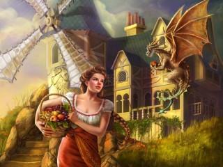 Собирать пазл Дракон и девушка онлайн