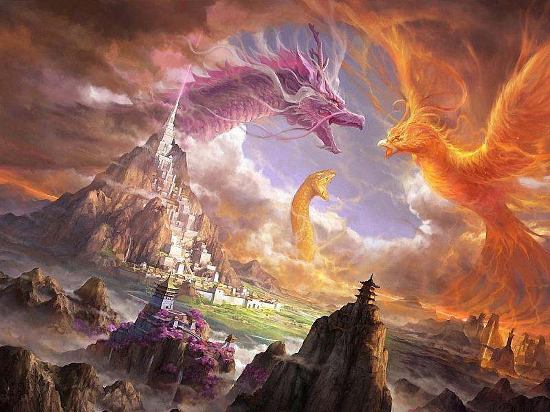 Пазл Собирать пазлы онлайн - Дракон и феникс