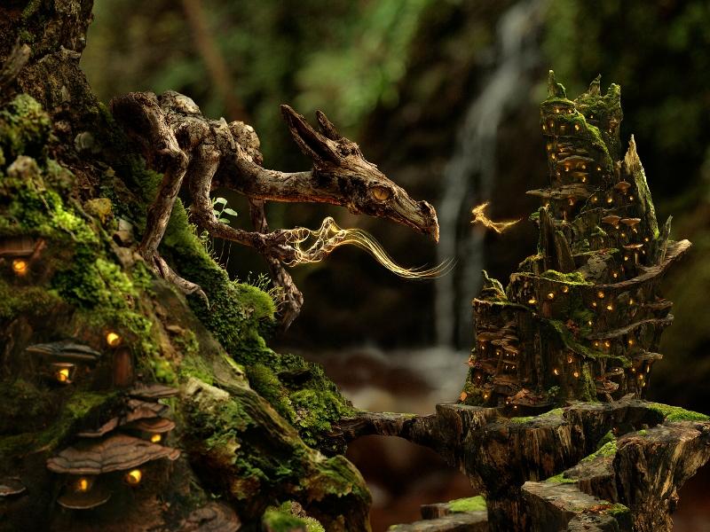 Пазл Собирать пазлы онлайн - Дракон и фея