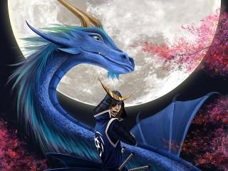 Собирать пазл Дракон и самурай онлайн