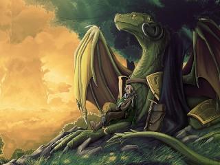 Собирать пазл Дракон и воин онлайн