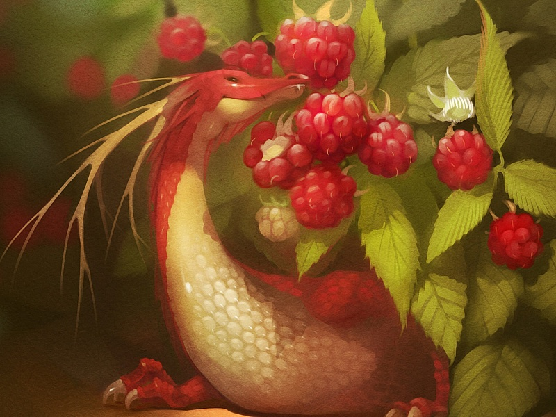Пазл Собирать пазлы онлайн - Дракончик и малина