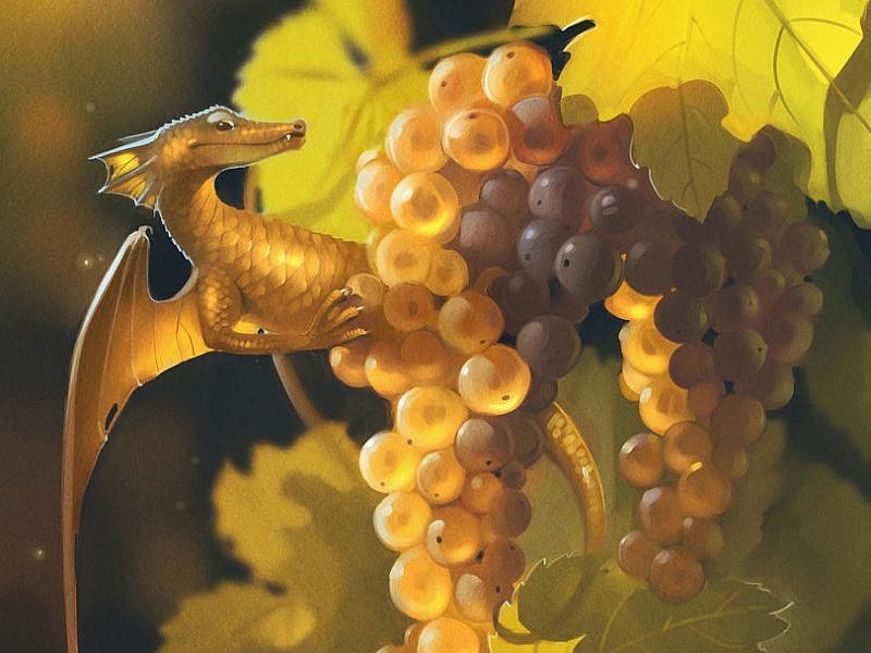 Пазл Собирать пазлы онлайн - Дракончик и виноград