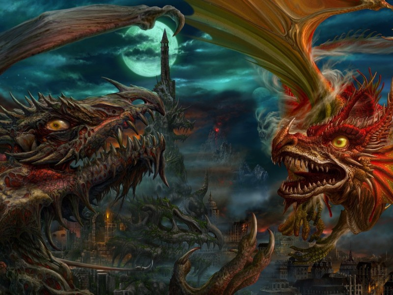Пазл Собирать пазлы онлайн - Драконы
