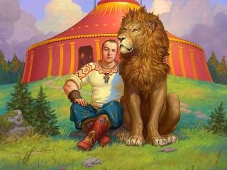 Собирать пазл Дрессировщик и лев онлайн