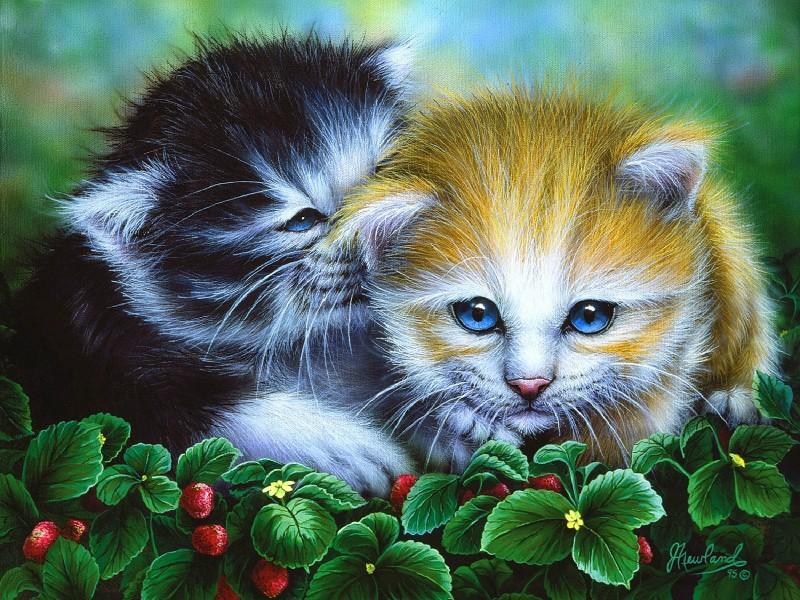Пазл Собирать пазлы онлайн - Кошачья дружба