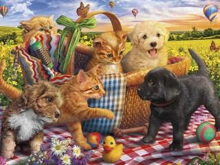 Собирать пазл Друзья на пикнике онлайн