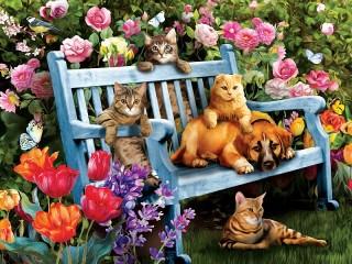 Собирать пазл Друзья в саду онлайн