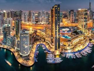 Собирать пазл Дубай вечером онлайн