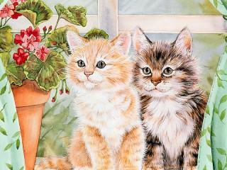 Собирать пазл Два котенка онлайн