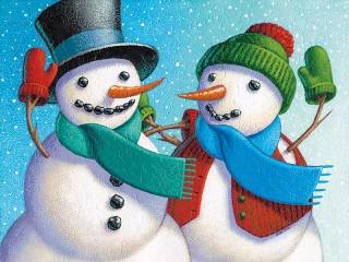 Собирать пазл Два снеговика онлайн
