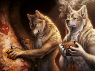 Собирать пазл Два волка онлайн