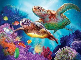Собирать пазл Две черепахи онлайн