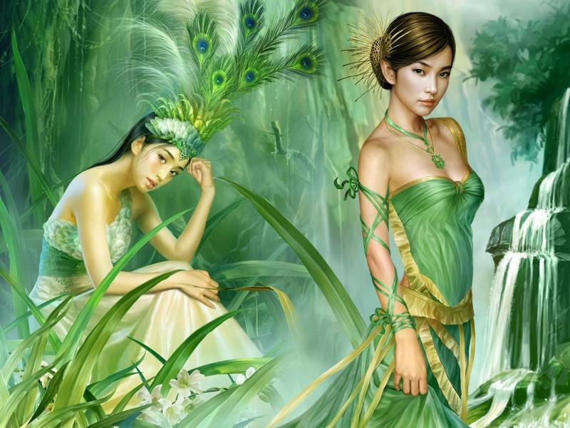 Пазл Собирать пазлы онлайн - Девушки в зеленом цвете
