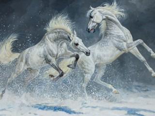 Собирать пазл Две лошади  онлайн