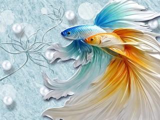 Собирать пазл Две рыбки онлайн