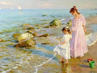 Собирать пазл Две сестры на берегу онлайн