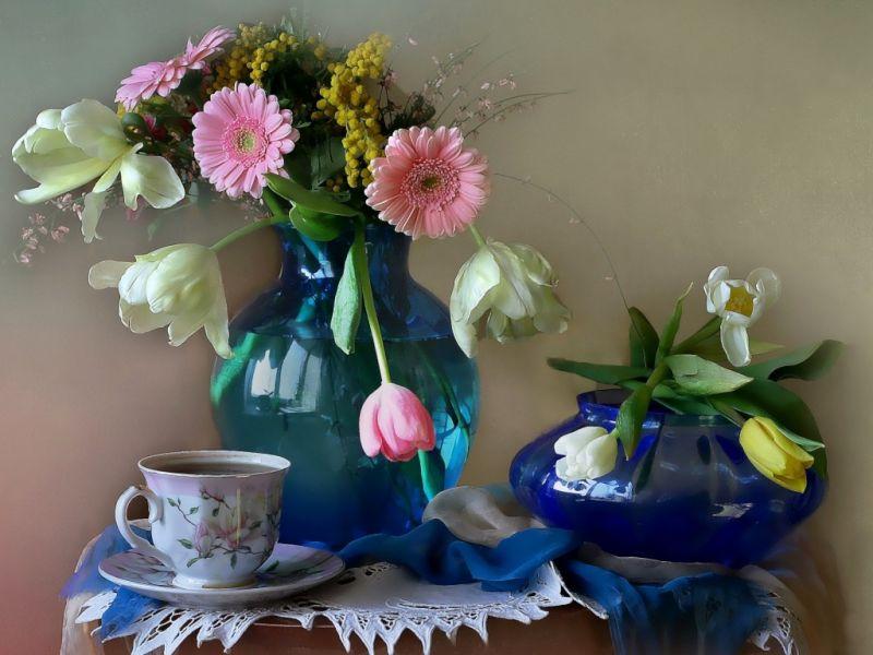 Пазл Собирать пазлы онлайн - Тюльпаны и герберы
