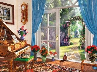 Собирать пазл Двери в сад онлайн