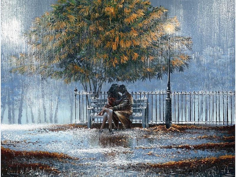 Пазл Собирать пазлы онлайн - Двое под дождем